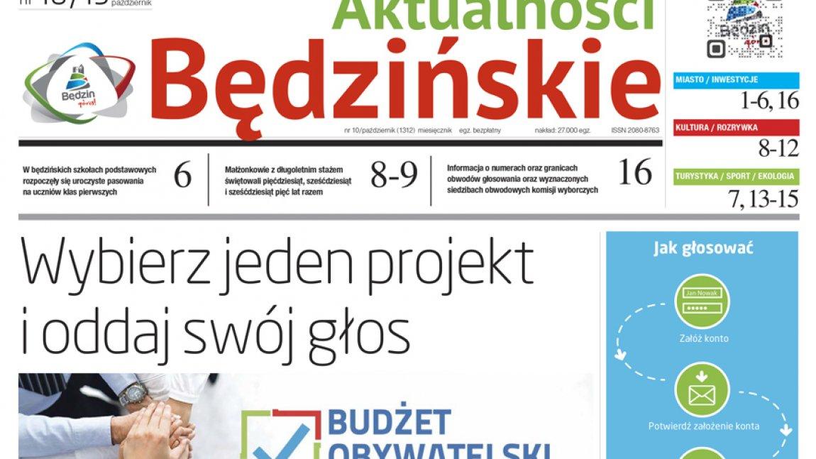 Strona tytułowa Aktualności Będzińskich, październik 2019 r.