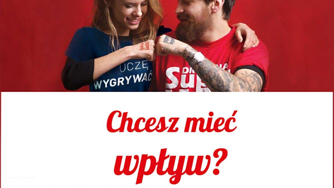 Ilustracja przedstawiająca zdjęcie kobiety i mężczyzny na czerwonym tle, poniżej napis Chcesz mieć wpływ? na białym tle