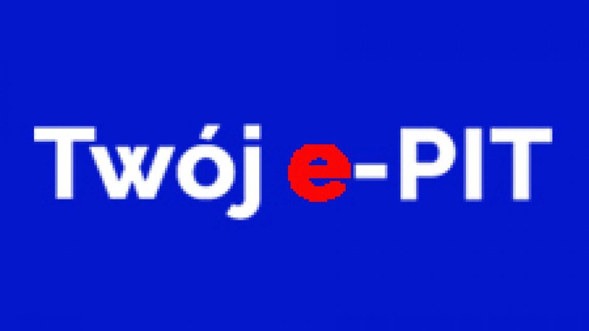 Biały napis Twój E-PIT na granatowym tle z czerwoną litera e