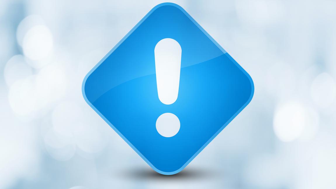 Niebieski wykrzyknik symbolizujący ważną informację.