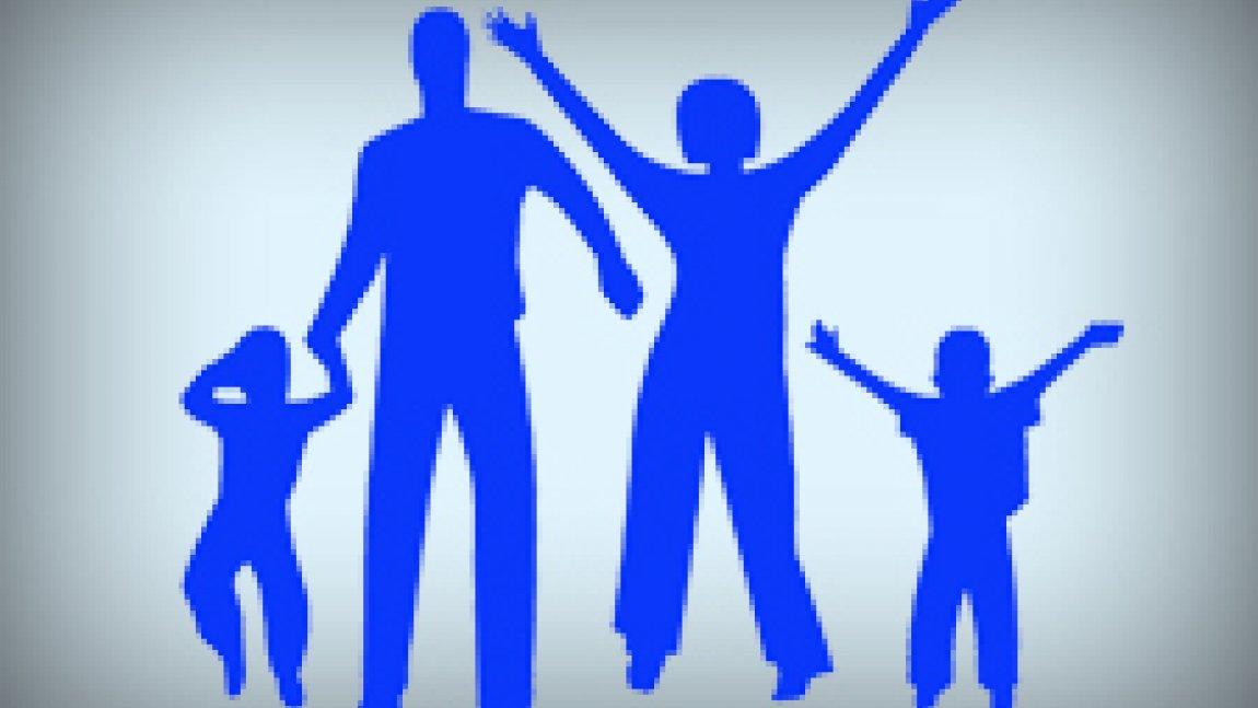Ilustracja przedstawiająca niebieskie postaci rodziców i dzieci