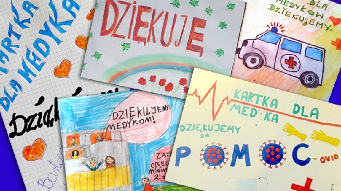 Kartki dzieci z napisem dziękujemy