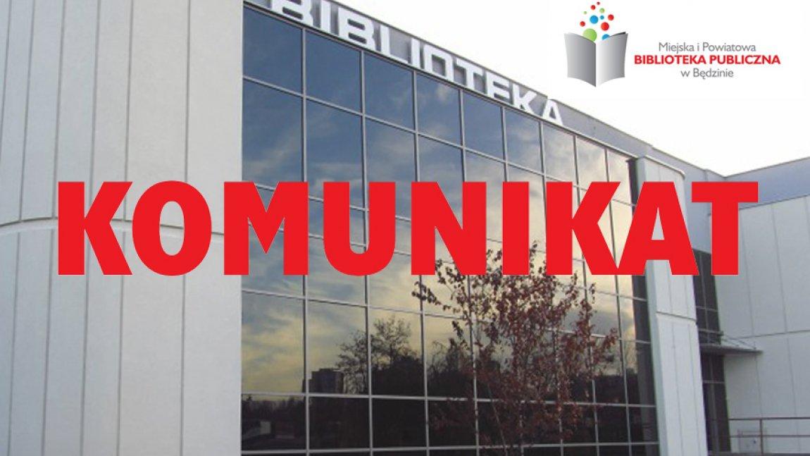 Ilustracja przedstawiająca budynek biblioteki głównej w Będzinie z czerwonym napisem Komunikat