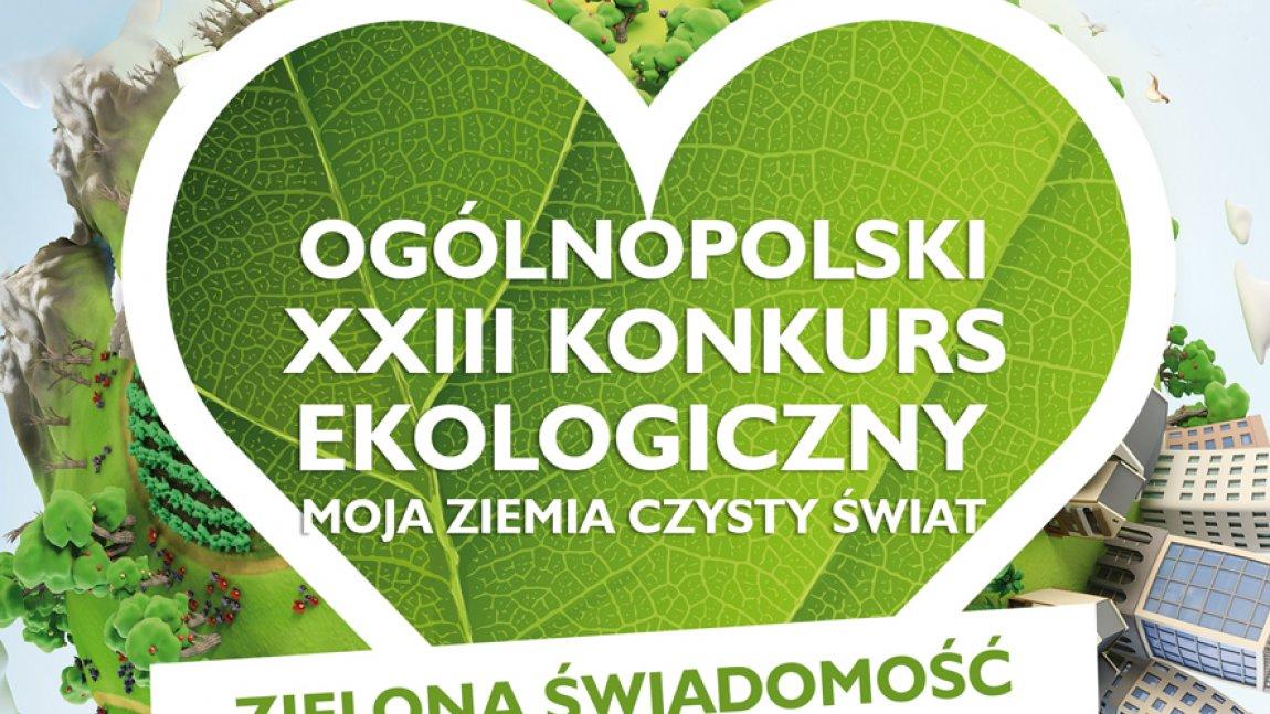 Ilustracja przedstawiająca liść w kształcie serca z białym napisem Ogólnopolski dwudziesty trzeci Konkurs Ekologiczny