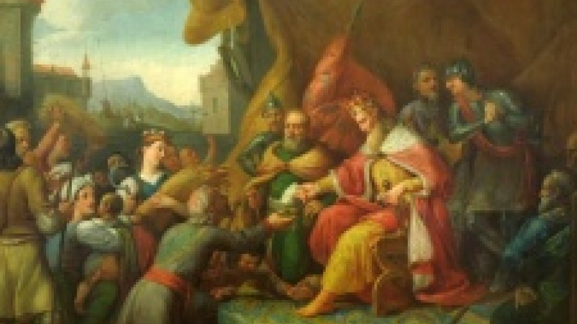 """Ilustracja przedstawiająca fragment obrazu """"Kazimierz Wielki nadaje przywileje włościanom""""."""