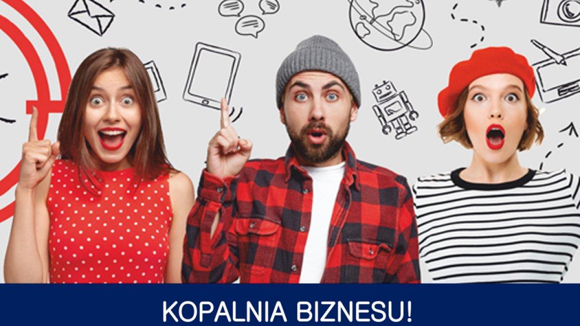 Ilustracja przedstawiająca dwie młode kobiety i mężczyznę oraz napis Kopalnia Biznesu